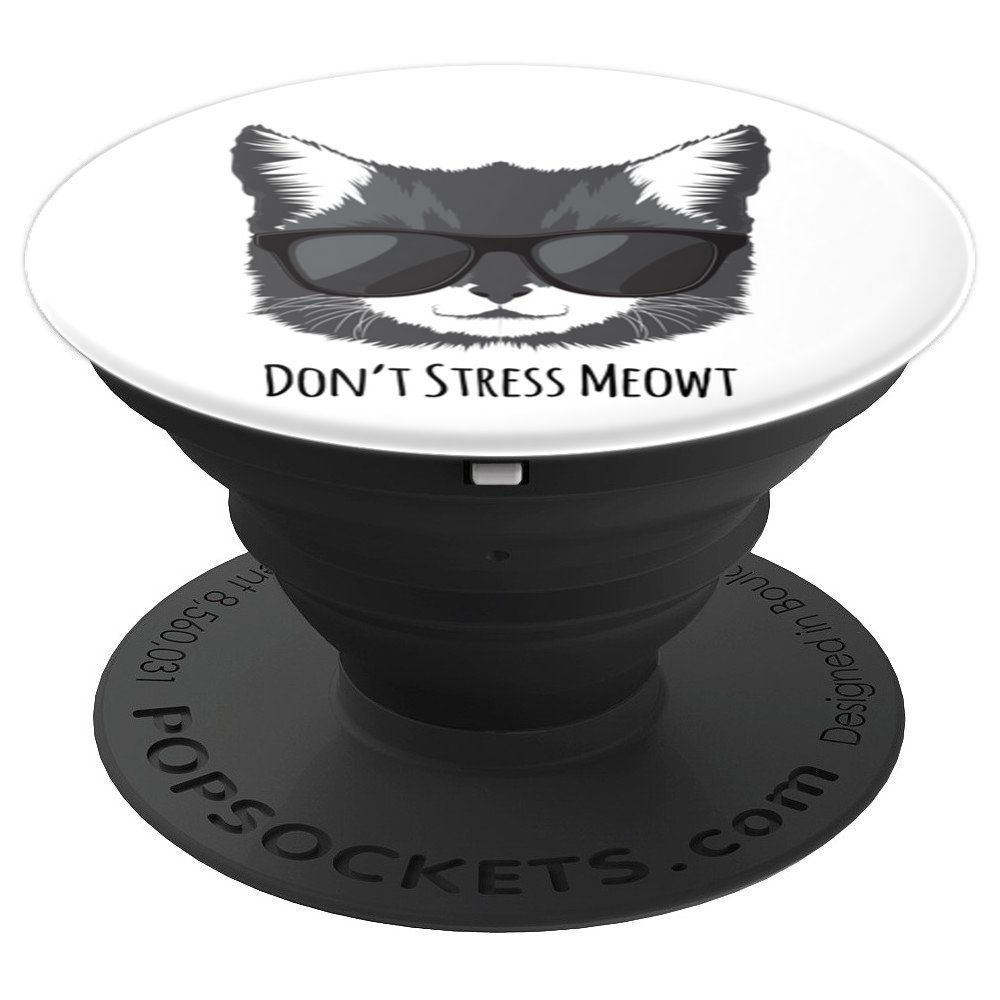 dbc568e2ccb Amazon.com  Cool Cat Face with Sunglasses - PopSockets Grip and Stand for  Phones and Tablets  Cell Phones   Accessories