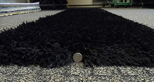 Rose Delux Black Thick Shag Runner Rug 2 Feet X 7 Feet 6 Inch