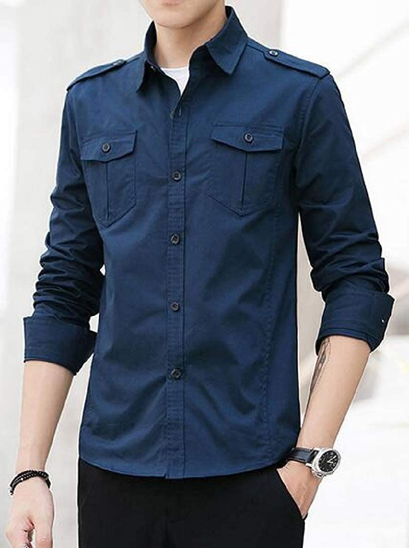 UUYUK Men Cotton Long Sleeve Military Solid Color Button Up Casual Cargo Work Shirts