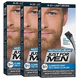 Just For Men Mustache & Beard Color, Beard Coloring for Men, Light Brown  (Pack of 3)