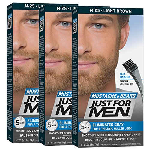 Just For Men Mustache & Beard Brush-In Color Gel, Light Brown, 1 Ounce, Pack of 3