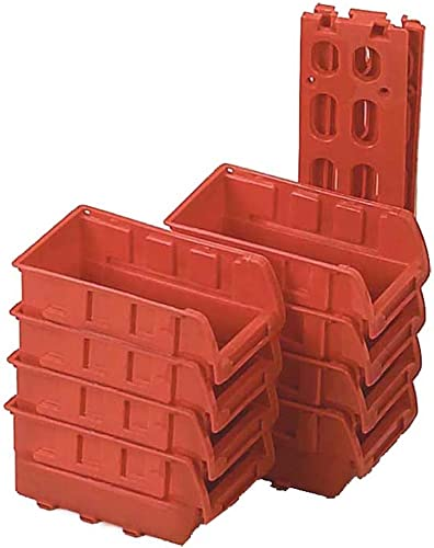 BIN BUDDY 8 Piece Stackable Storage Bins With Racks For Hanging On Wall MJ-73052