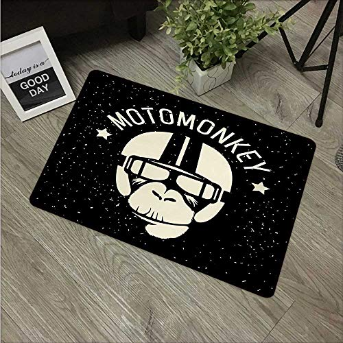 Outer Space,Floor Rug Carpet Sign Alien Monkey with Astronaut Costume in a Galaxy with Stars Poster W 16