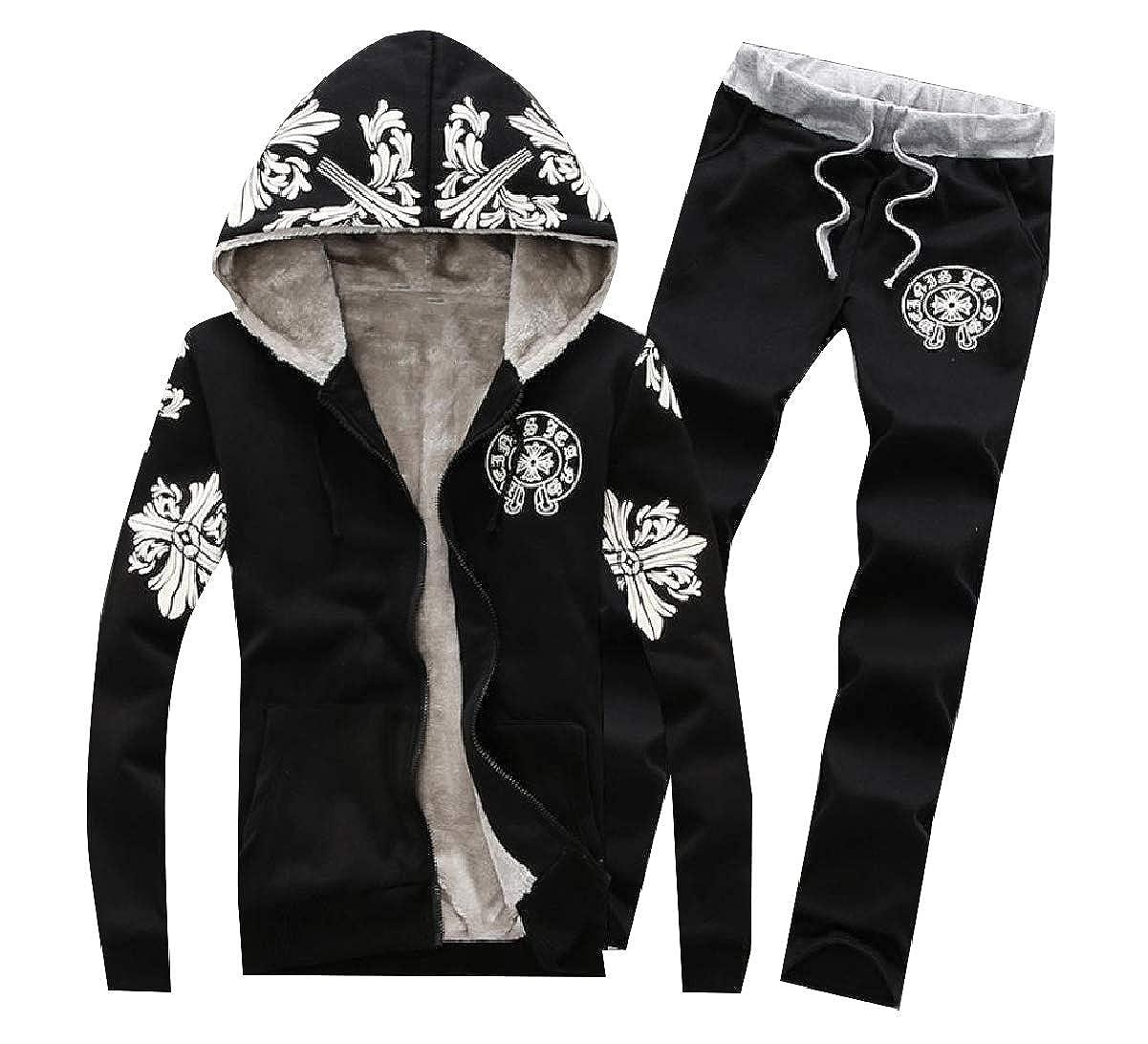 NestYu Men Thickened Thermal Winter 2 Piece Set Zip Hood Sport Tracksuit