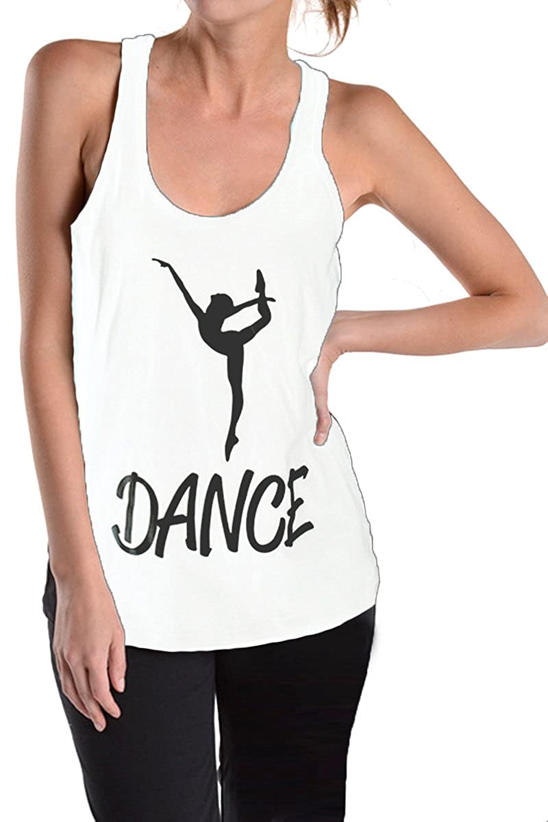 Beachcoco Dance Printed Fitted Racerback Tank Top Charcoal) DC-701