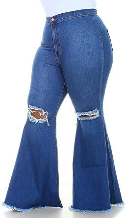 Amazon Com Soho Glam Plus Size Vibrant Ripped Knee Super Flare Jeans Medium Denim Clothing