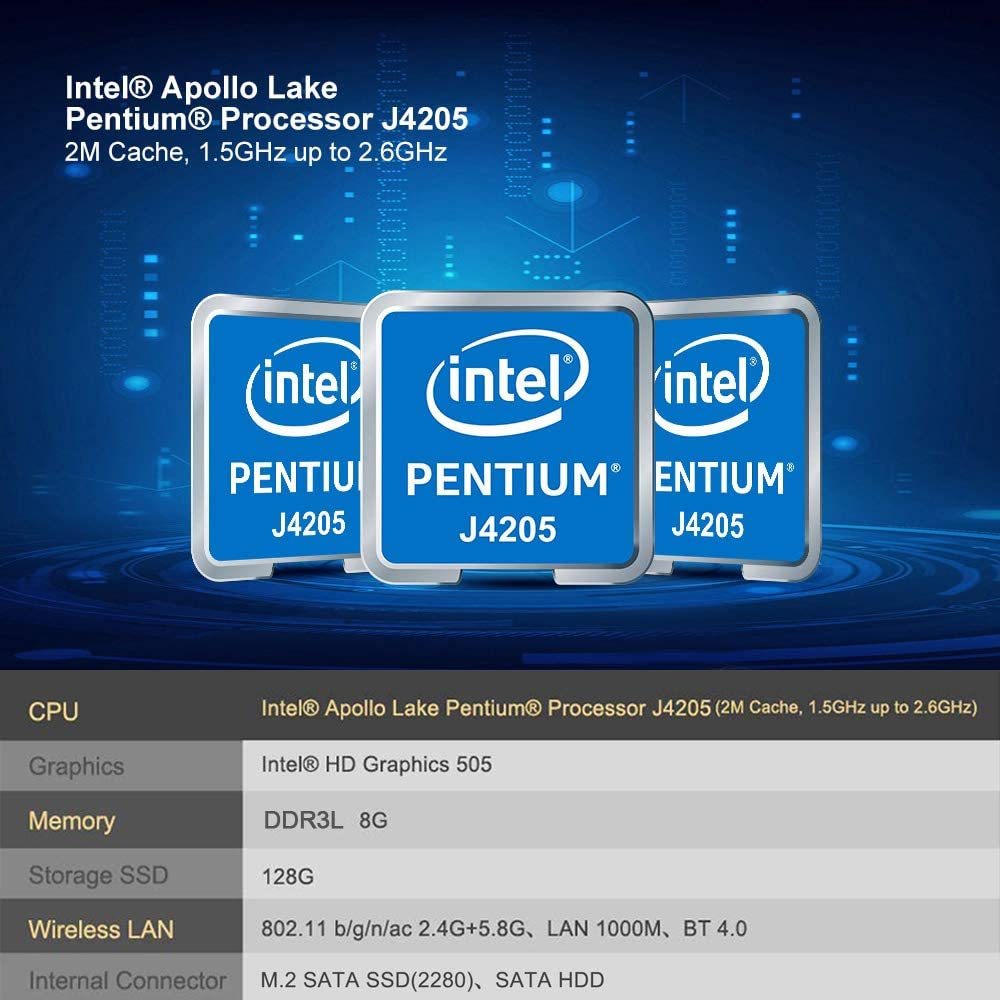 Beelink J45 Mini PC con CPU Intel Apollo Lake Pentium J4205, 8GB ...