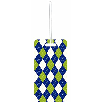 Green, Blue and White Argyle Pattern Rosie Parker Inc. Set of 8 Luggage Tags with Personalized Back