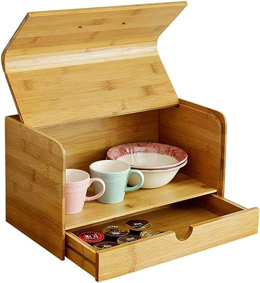 LZC Caja de Pan de bambú, Soporte para Almacenamiento de Pan de ...