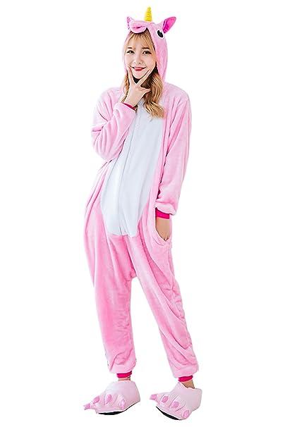 129bdfd921 JYUAN Unicorn Onesie Pajamas Costume Animal Kigurumi Cosplay Cute Sleepwear  (L Fit height 5