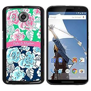iKiki Tech / Estuche rígido - It Higher 420 Blue Pink Text Floral - Motorola NEXUS 6 / X / Moto X Pro