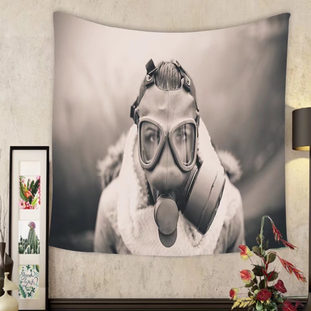 Lee S. Jones Custom tapestry environmental disaster woman breathing trough gas mask health in danger concept of pollution