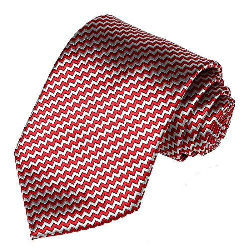 KissTies Plaid Necktie Checked Extra Long Tie in Gift Box, Red Silver Grey (63'' XL)