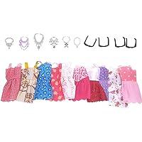 Leoie 20pcs / Set Mini Vestidos Cortos + Collares + Gafas Accesorios de Juguete para muñecas Estilo Aleatorio