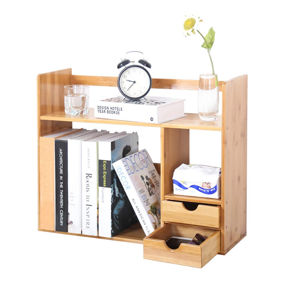 soges Bamboo Bookcase with 2 Drawers Desk Storage Shelf for Home&Office Storage, KS-HSJ-03-CA PRC