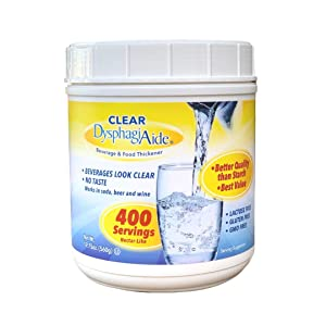 Clear DysphagiAide Thickener Powder - Instant Thickener for Liquids and Foods (19.75 oz, 400 Servings) – a Liquid Thickener, Drink Thickener and Water Thickener (Nectar Thick Consistency and Honey)
