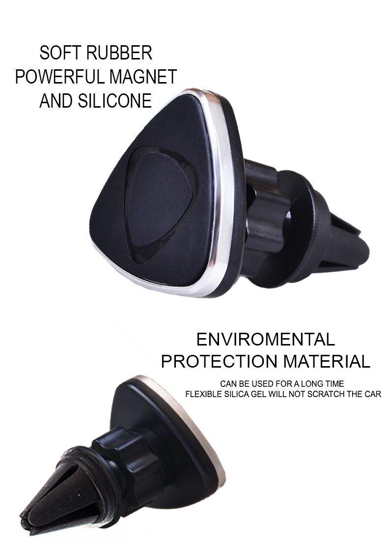 ユニバーサル磁気携帯電話ホルダーの車 – air-ventクレードルマウント – 360度回転可能 – ユニークな三角形形状設計 – For iPhone 6、6s、SAMSUNG EDG &すべてのスマートフォン – プレミアム品質by Babs B074D997J2 ブラック ブラック