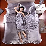 Moldiy Luxury 4-Piece Satin Silky Bed Sheet Set Bedding Collection,Duvet ...