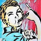 MR.BABES - ''Rosie The Whistleblower'' - Original Pop Art Painting - Feminism Riveter Satire Portrait