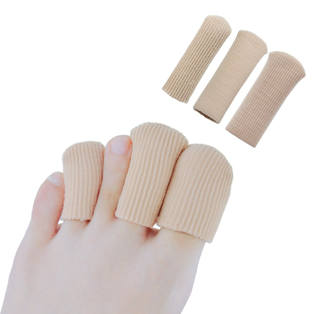 Povihome Toe Caps, Fabric Toe Sleeves, Hammer Toe Protector with Gel Lining, Trim to Fit Toes, for Blister, Corn, Callus - 6 Pairs