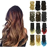PrettyWit Clip in on Hair Extensions Ombre Full Head Curly Wavy Double Weft 18-20 Inch Long Hairpiece 7pcs/set for Women(Black to Grey 1BT0906)