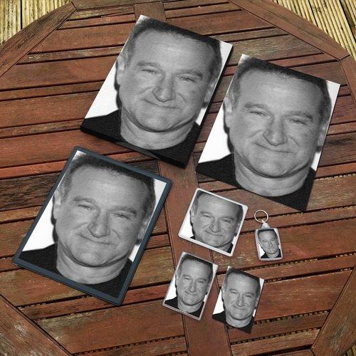 Robin Williams - Original Art Gift Set #js001 (Includes - A4 Canvas - A4 Print - Coaster - Fridge Magnet - Keyring - Mouse Mat - Sketch Card)