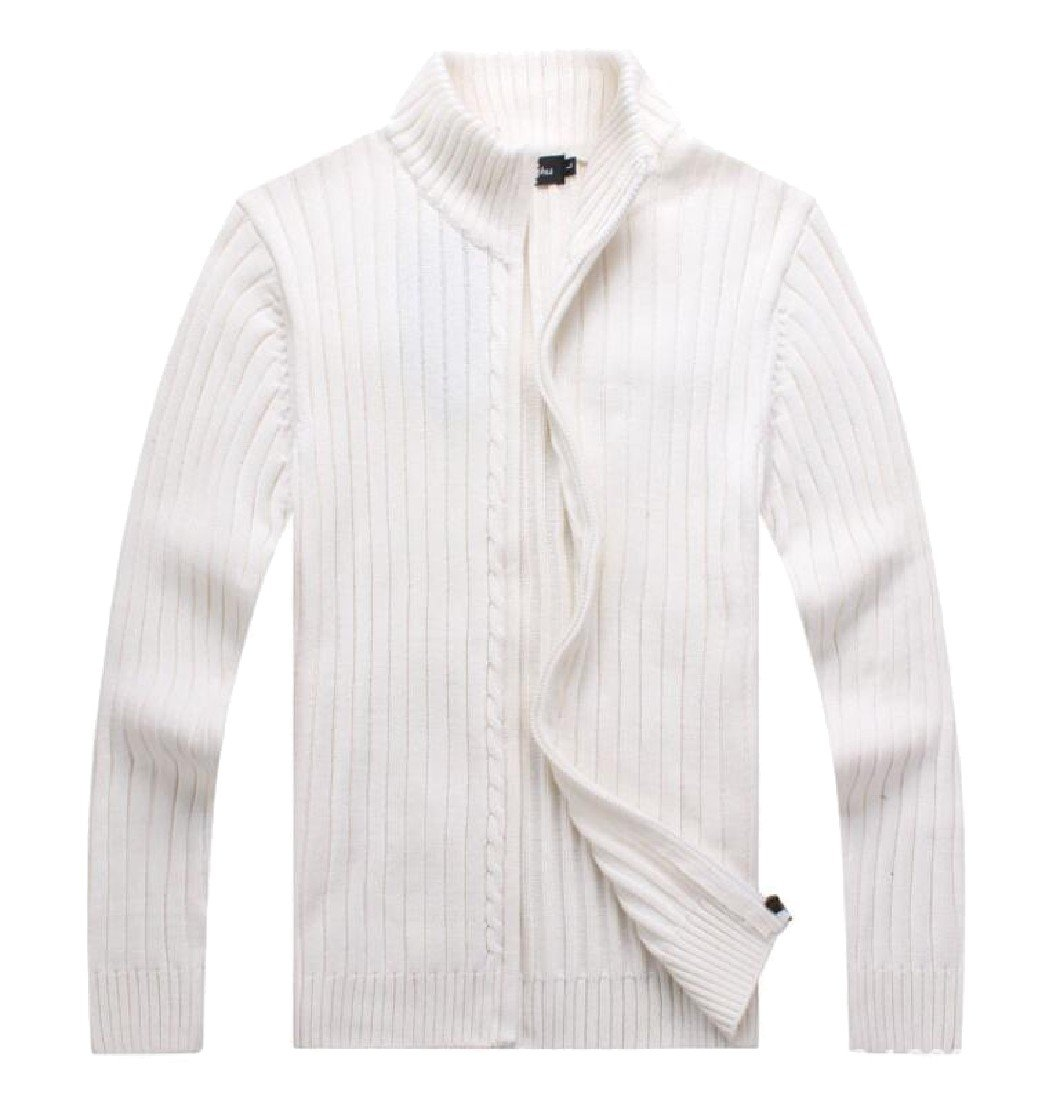 DoufineMen Doufine Mens Zip Leisure Slim Knit Pure Color Stand Collar Cardigan Tops White XL