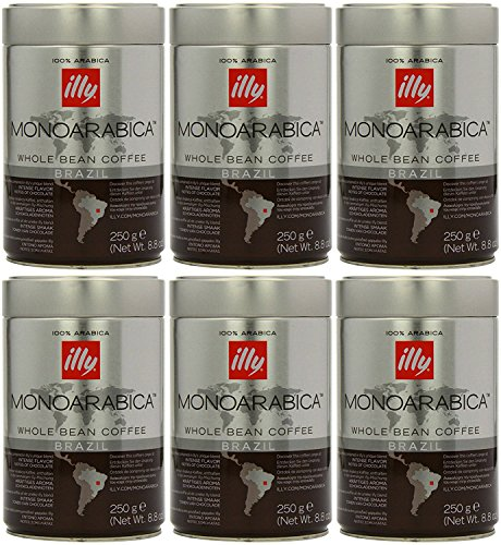 Illy Monoarabica Whole Bean, Single Origin Brazil Coffee Beans 8.8 Ounce (Pack of 6) by Illy
