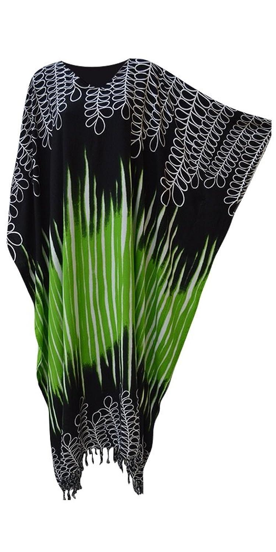 BORNEO Soft Bindung gefärbtes Blatt Kaftan Kaftan kühles langes Damen-Sommer-Kleid plus Strand-Abdeckung oben