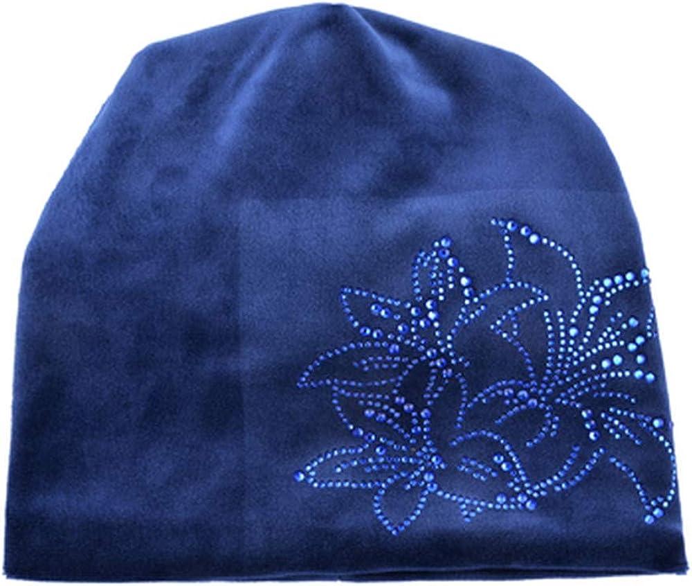 Womens Rhinestone Flower Hat Scarf Winter Warm Beanies Scarves Set for Girls Thick Velvet Bonnet Femme Caps