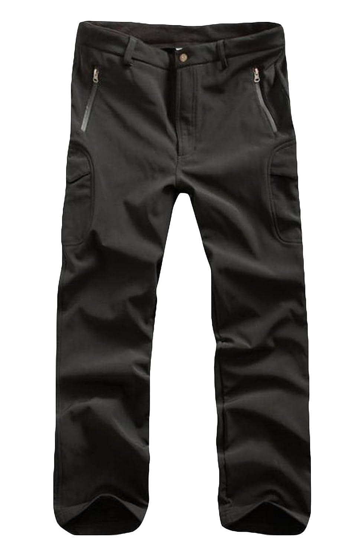 Blatoro Men's Fleece Camping Quick-dry Outdoor Waterproof Ripstop Pants Black L ESDY
