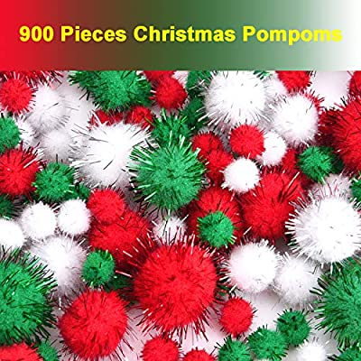 Livder Christmas Pom Poms Pompoms Red Green White Glitter Fluffy Balls, DIY Art Crafts Decorations Supplies (4 Sizes, 900 Pieces): Arts, Crafts & Sewing