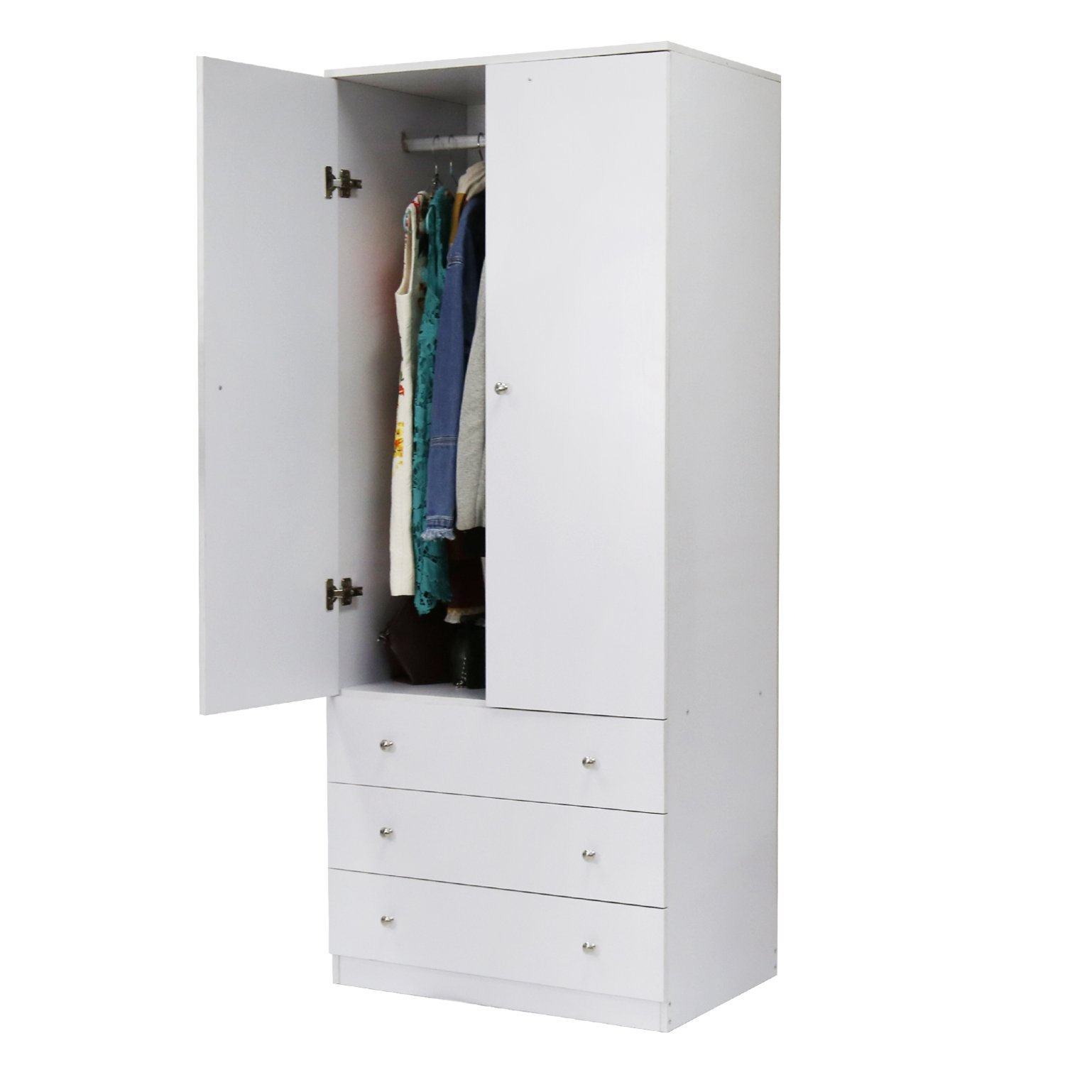 Peach Tree 2-Door Wardrobe Cabinet Armoire Storage with Three Drawers, Black/White (White)