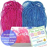 50 Gender Reveal Beads Necklaces 7mm plus Game - Large 7mm - 33'' Premium Blue and Pink Beads Necklaces with Don't Say Baby Gender Reveal/Baby Shower Game Set