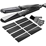 inkint Hair Straightener and Hair Crimper Crimping Iron-4 pair Interchangeable Plates Insulation Design 4 Setting Temperature for Dry and Oily Hair 100-240V