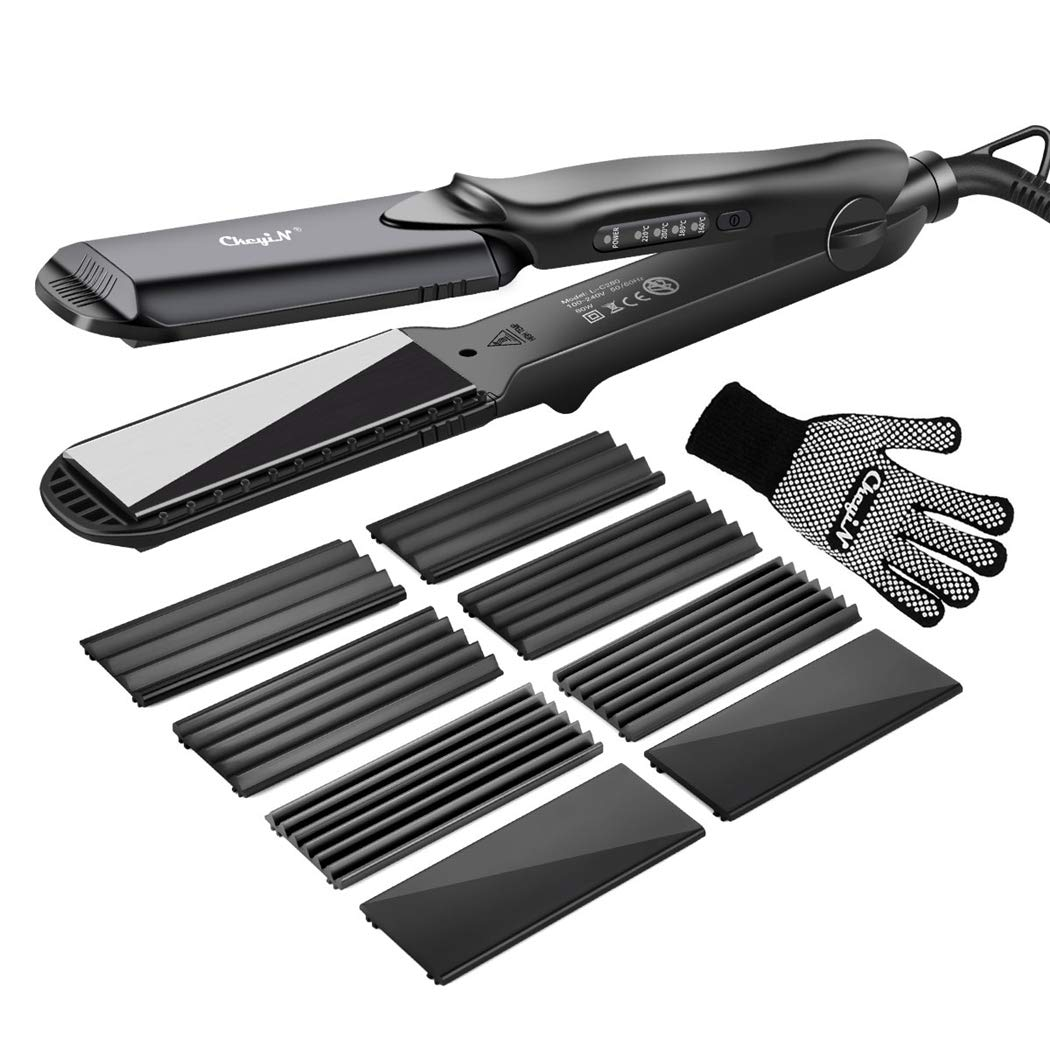 Hair Crimper, inkint Crimping Irons Hair Wavers Hair Straighters with 4 Interchangeable Tourmaline Ceramic Plate Adjustable Temperature for All Hair Types by inkint