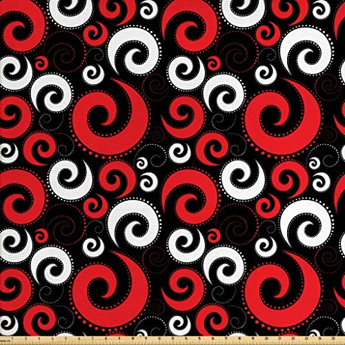Ambesonne Abstract Fabric The Yard, Modern Pattern Swirl Shapes Dots Spirals Vintage Style, Decorative Fabric Upholstery Home Accents, 2 Yards, Vermilion Black White