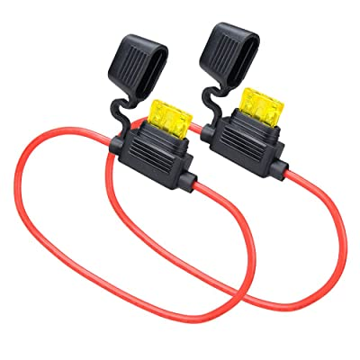 MUYI 2 Set Standard Blade Fuse Holder 14 Gauge Waterproof Pigtail Inline Fuse Holder with 20A ATC Fuses: Automotive