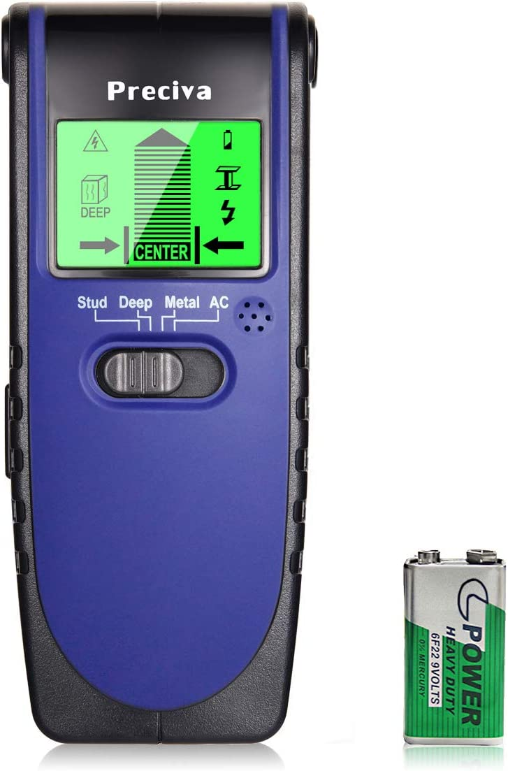 Stud Finder, Preciva Wall Scanner Sensor -4 in 1 Multifunctional Wall Detector with Digital LCD Display and Sounding Warning for Studs, Wood, Metal, ...