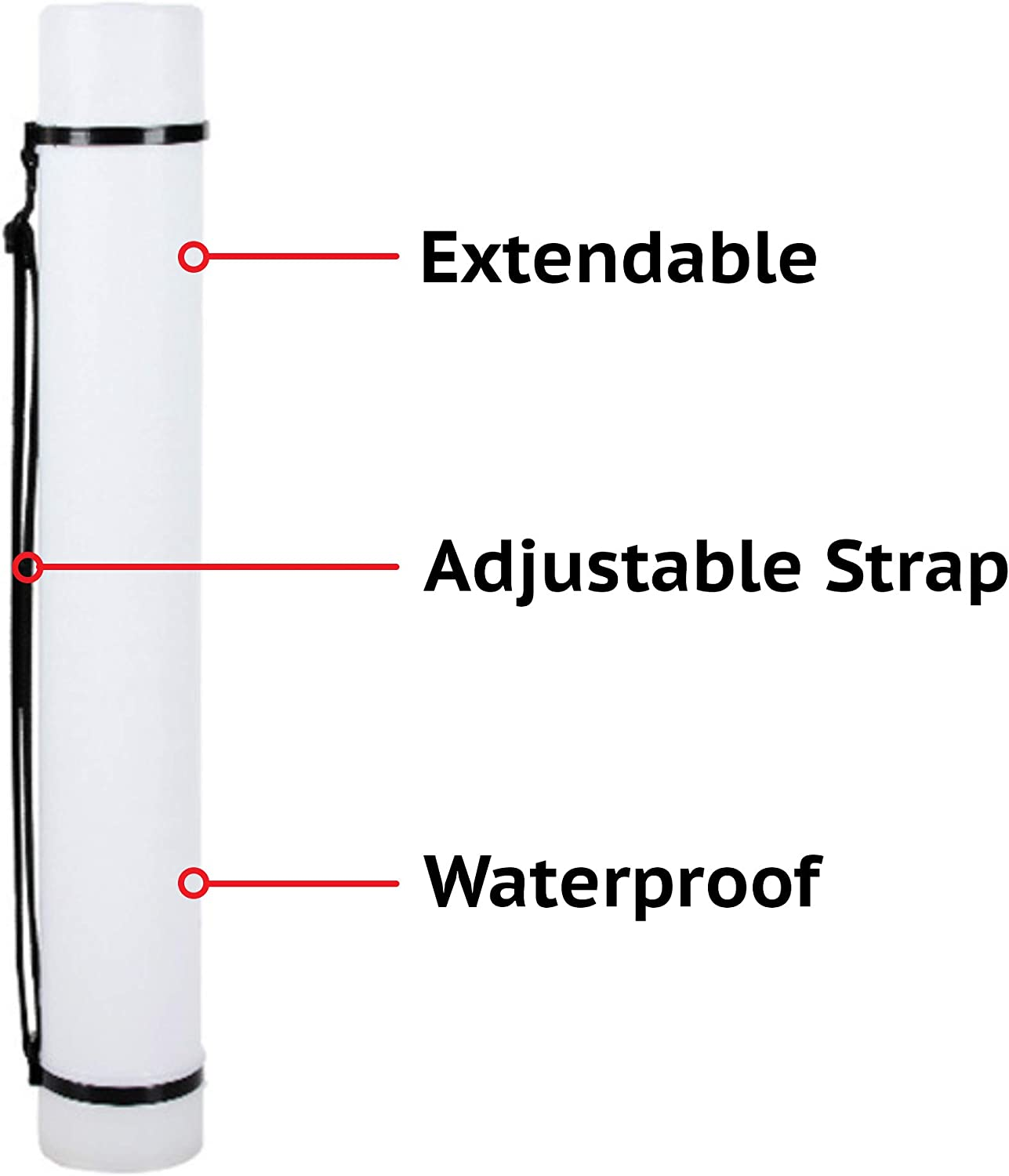 "Blueprints 2-Pack Extendable Poster Tubes Expand from 24.5/"" to 40/"" with Shoulder Strap White Portable Durable Round Storage Cases with Lids and Labels Drawings and Art Carry Documents"