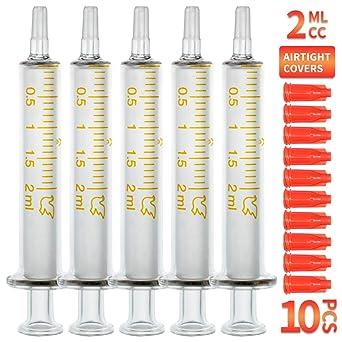 Bongner 2ml/cc Glass Syringe Needleless Reusable Corrosion