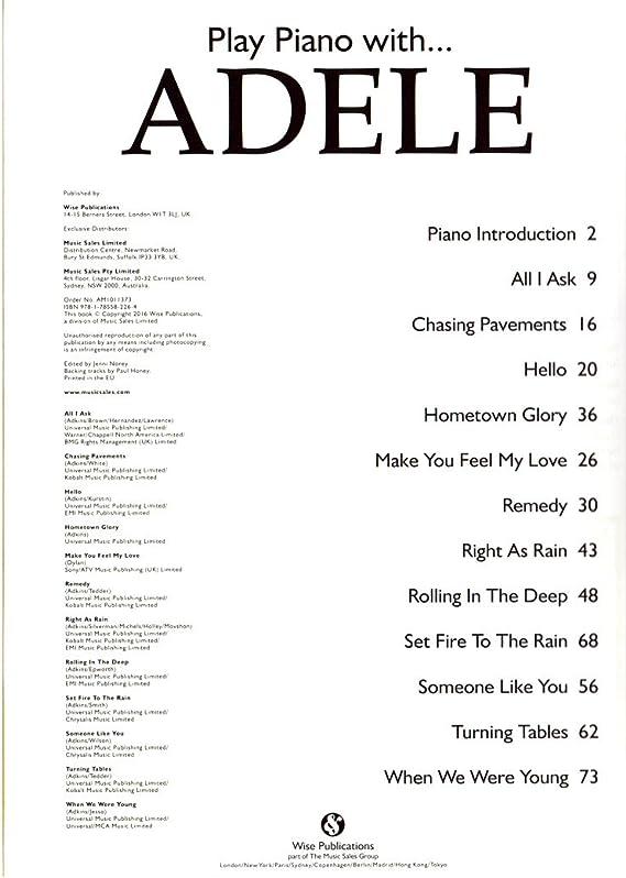 Play Piano With Adele – Único libro auténticos y preciso Piano ...