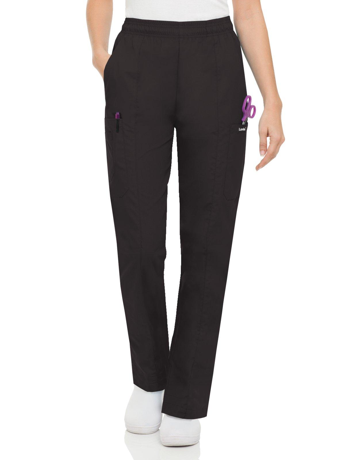Landau Essentials Women's Classic Fit Elastic-Waist Cargo Scrub Pant Black 2XLP
