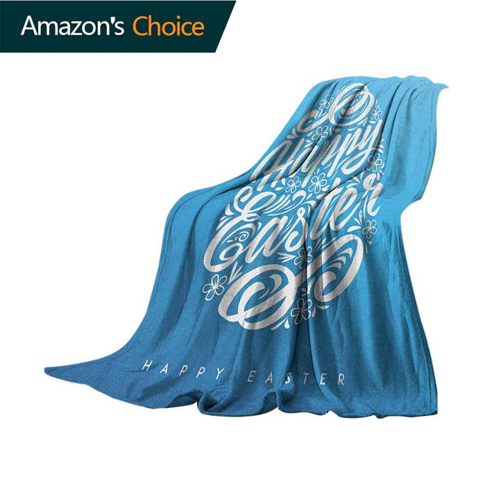 Easter Children's Blanket,Blooming Sketch Flowers with Swirls Hand Lettering Easter Celebration Pattern Weighted Blanket for Adults Kids,Better Deeper Sleep,50'' Wx60 L Azure Blue White