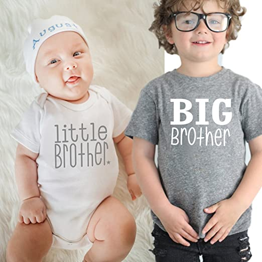 9cd1b831f Amazon.com  Baby Boys Girls T-Shirt Solid Big Brother Printed Short ...
