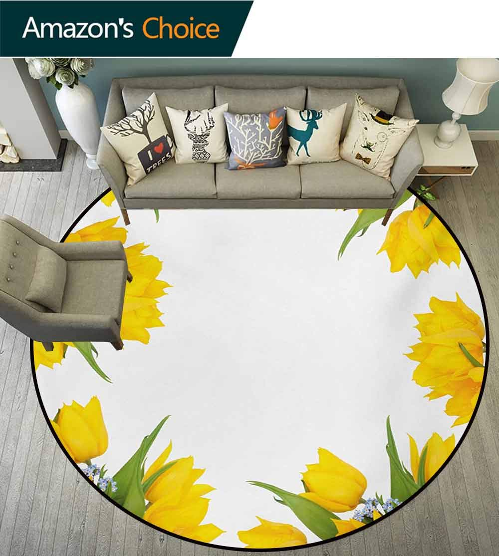 Yellow Flower Modern Machine Washable Round Bath Mat,Abstract Frame Yellow Tulip and Blue Forget Me Knot Blooms Bouquets Non-Slip Living Room Soft Floor Mat,Diameter-47 Inch