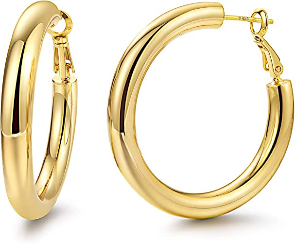 Hoop Earrings 18K Gold Plated 925 Sterling Silver Post 5MM Thick Tube Hoops for Women And Girls /…