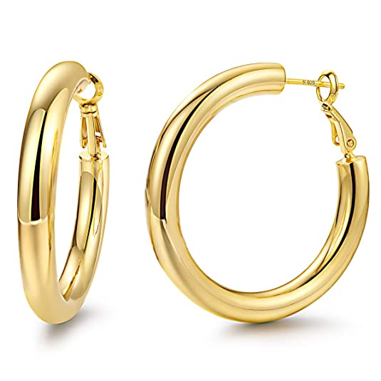 Hoop Earrings 24K Gold Plated 925 Sterling Silver Post 5MM Thick Tube Hoops for Women And Girls