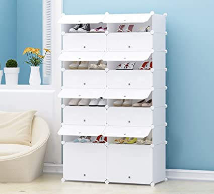 JOISCOPE Portable Shoe Storage Organzier Tower, Modular Cabinet Shelving  For Space Saving, Shoe Rack