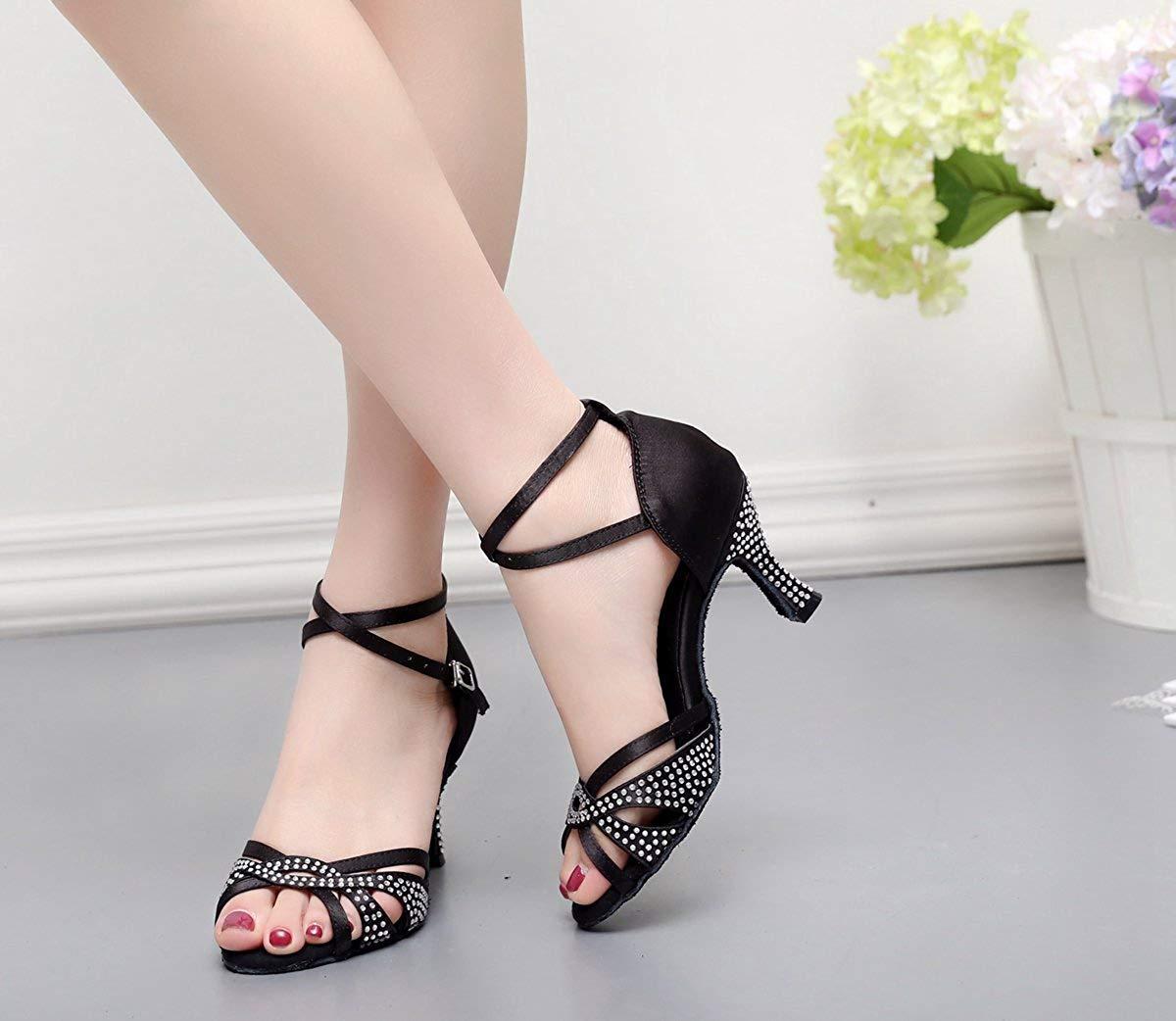 Qiusa TJ7132 Damen Mädchen Kristalle Satin Latin Dancing Schuhe Abend Abend Abend Sandalen (Farbe   schwarz-7.5cm Heel Größe   2 UK) fa6279